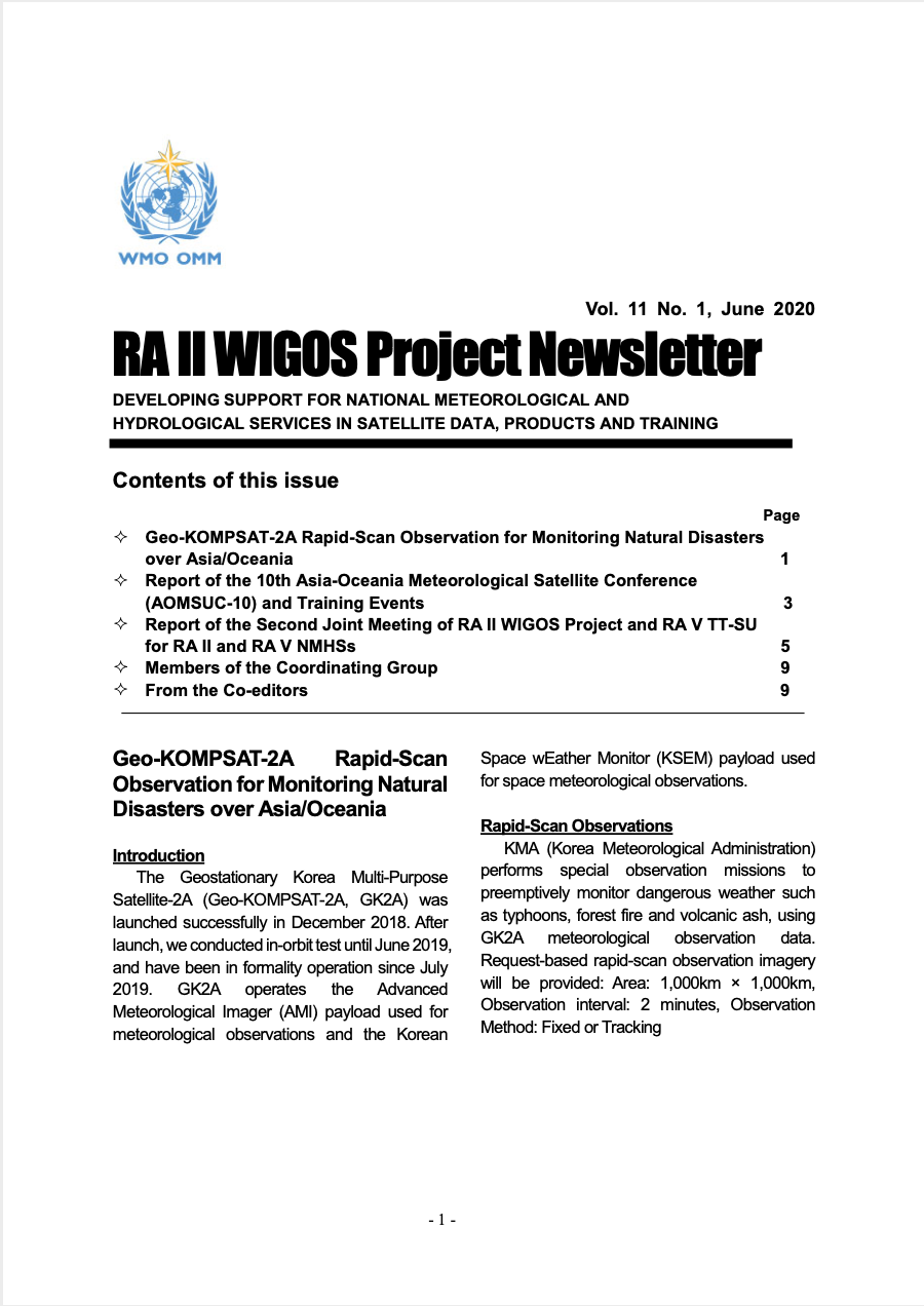 RA II WIGOS Project Newsletter Vol. 11 No. 1, June 2020