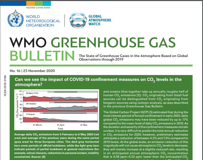Greenhouse Gas Bulletin 2020