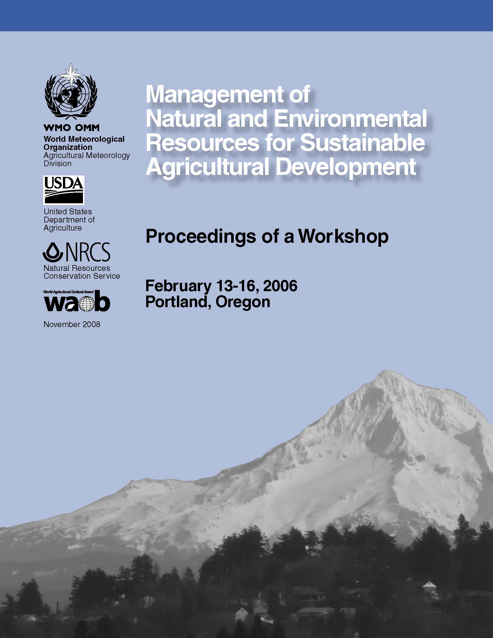 Management of Natural Resources forSustainable Agriculture Cover