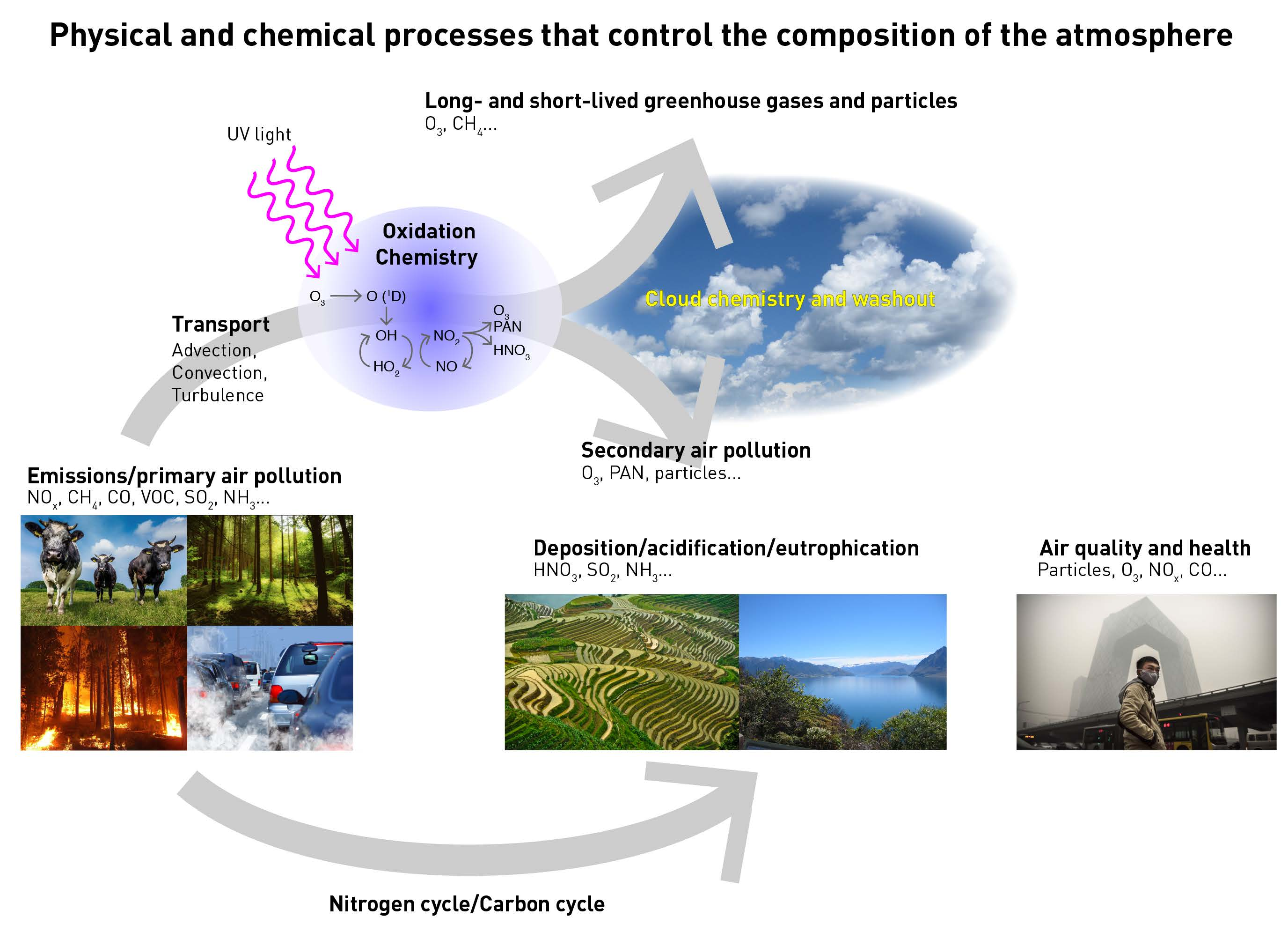 Physical and chemical processes that control the composition of the atmosphere on different scales