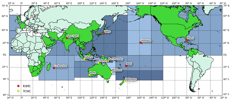 Areas of responsibility of the Tropical Cyclone-RSMCs and the TCWCs