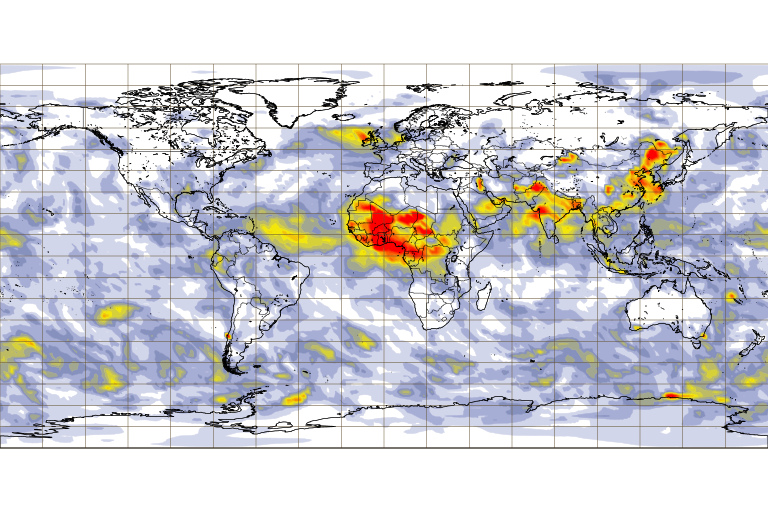 Fig. Aerosol optical depth at 550 nm 11 Feb 00 UTC 2020  (provided by CAMS, the Copernicus Atmosphere Monitoring Service)