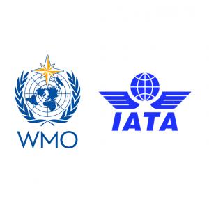The logos of WMO and IATA